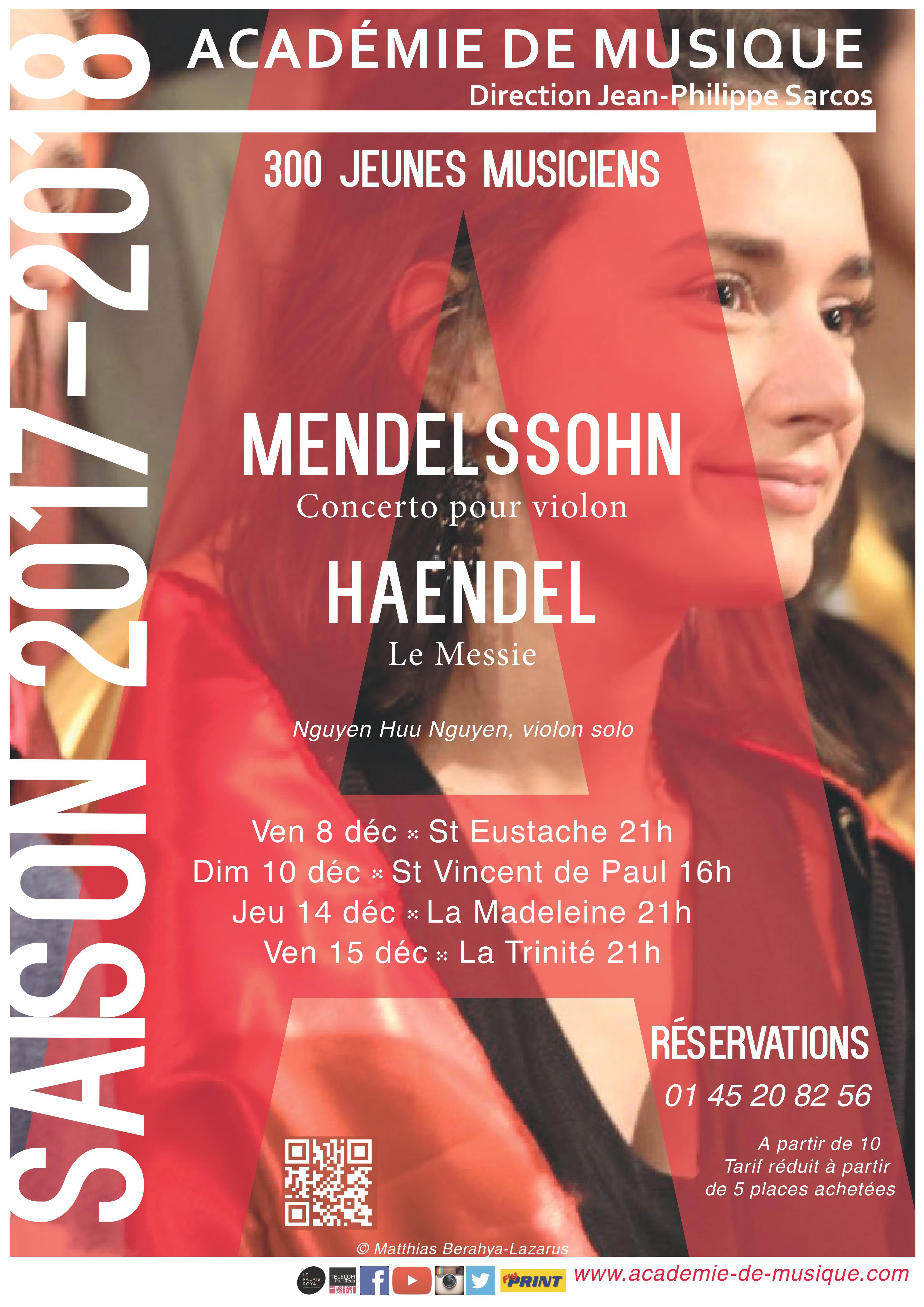 Affiche concerts Mendelssohn Haendel déc 2017